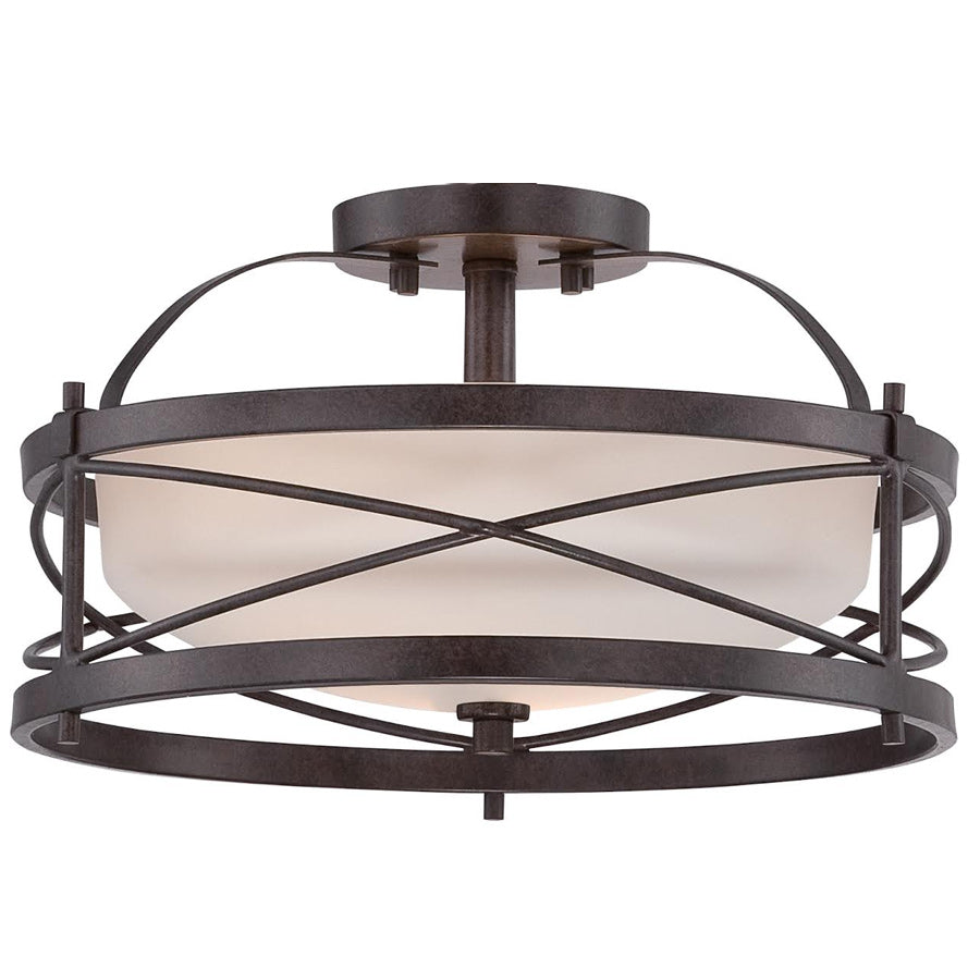 Nuvo Ginger 2-Light Semi Flush w/ Etched Opal Glass in Old Bronze Finish