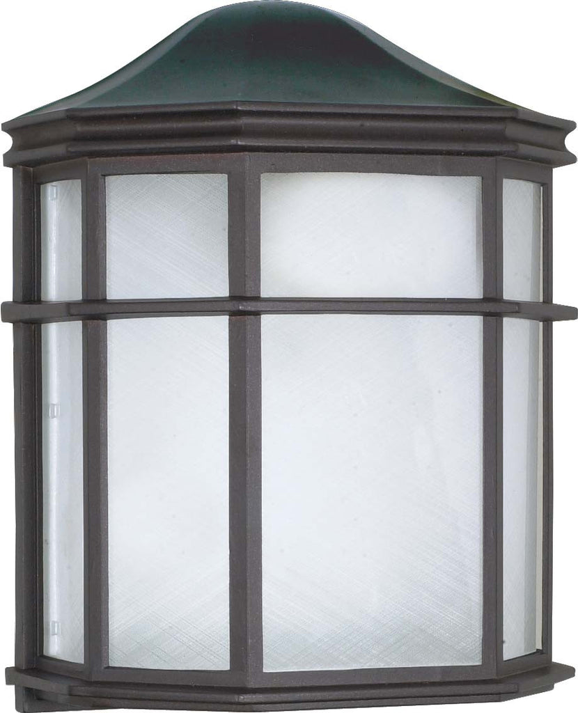 "Nuvo 1-Light 10"" Cage Wall Lantern w/ Linen Acrylic Lens in Textured Black"