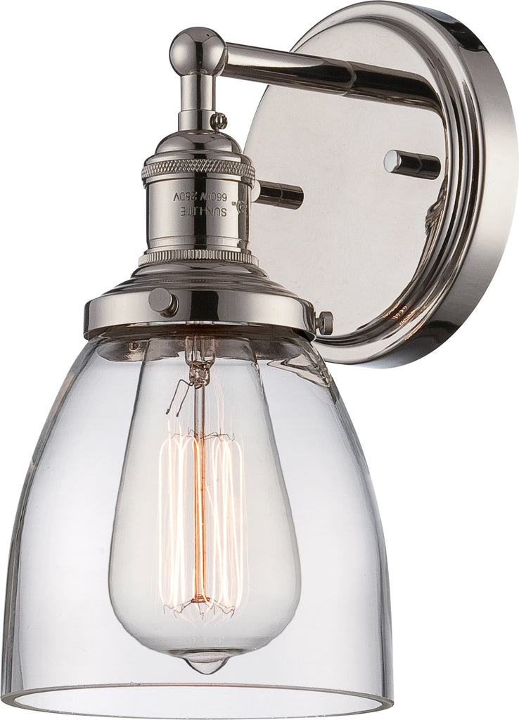 "Nuvo Vintage 1-Light 5.13"" Wall Sconce w/ Clear Glass in Polished Nickel Finish"