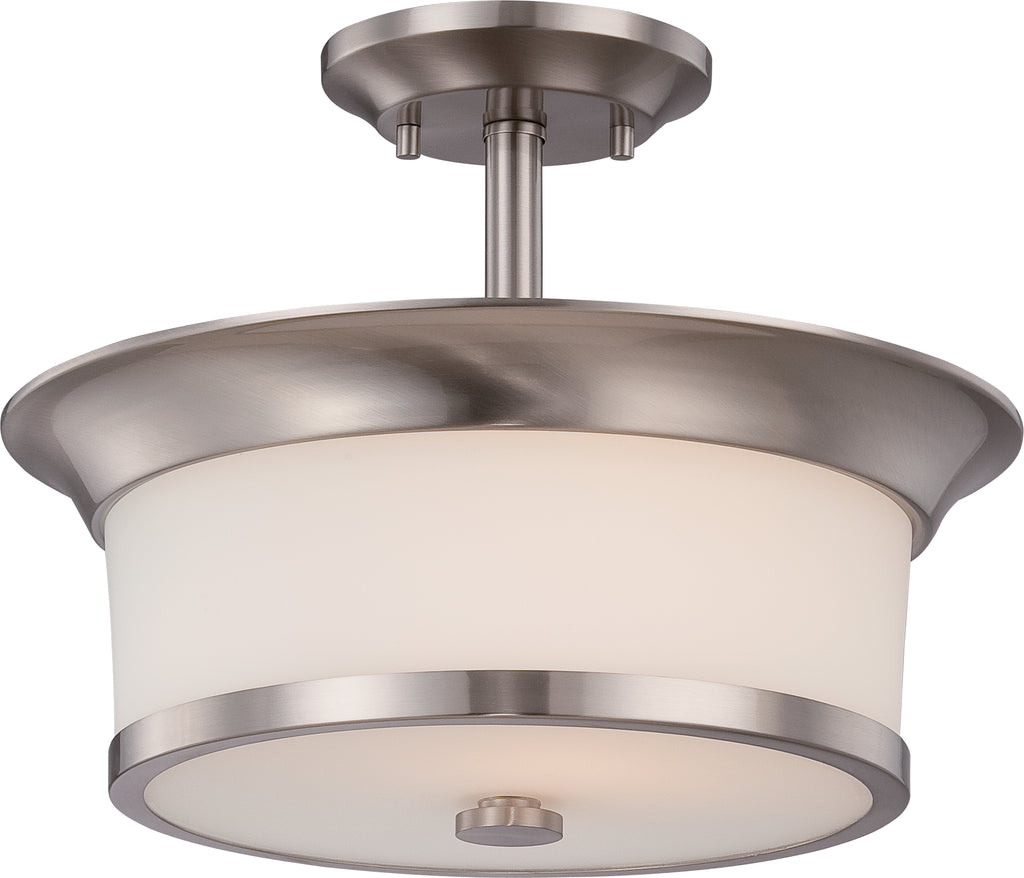 Nuvo Mobili 2-Light Semi Flush Fixture w/ Satin White Glass in Brushed Nickel