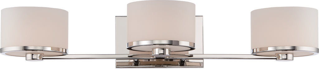 Nuvo Celine 3-Light Vanity Light Fixture w/ Etched Opal Glass in Polished Nickel