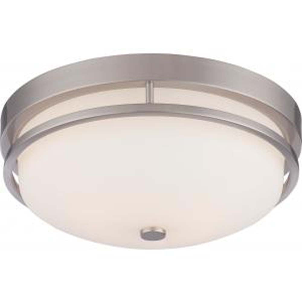 Nuvo Neval 2-Light Flush Fixture w/ Satin White Glass in Brushed Nickel Finish