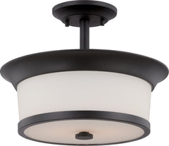 Mobili - 2 Light Semi Flush w/ Satin White Glass