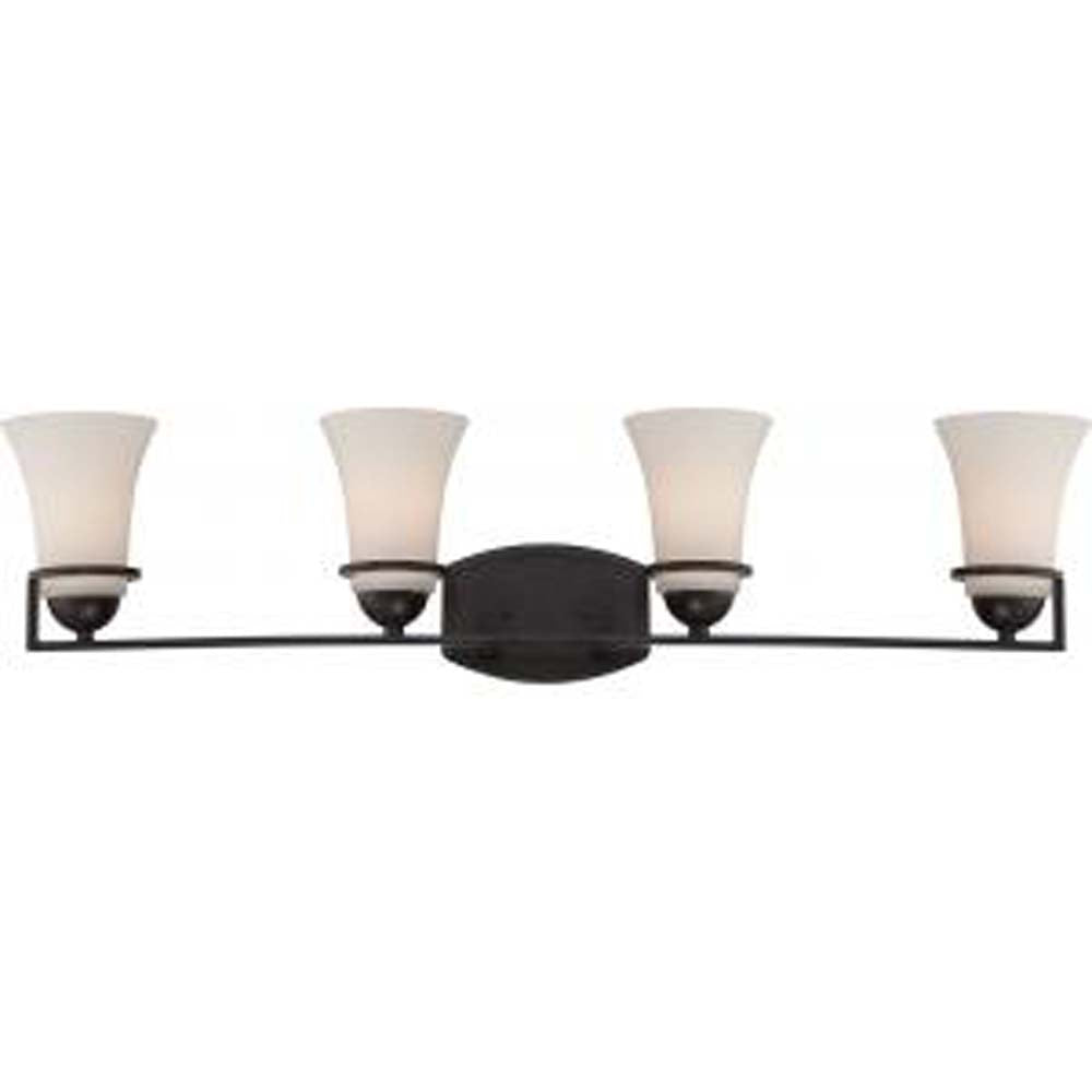 Nuvo Neval 4-Light Vanity Fixture w/ Satin White Glass in Sudbury Bronze Finish