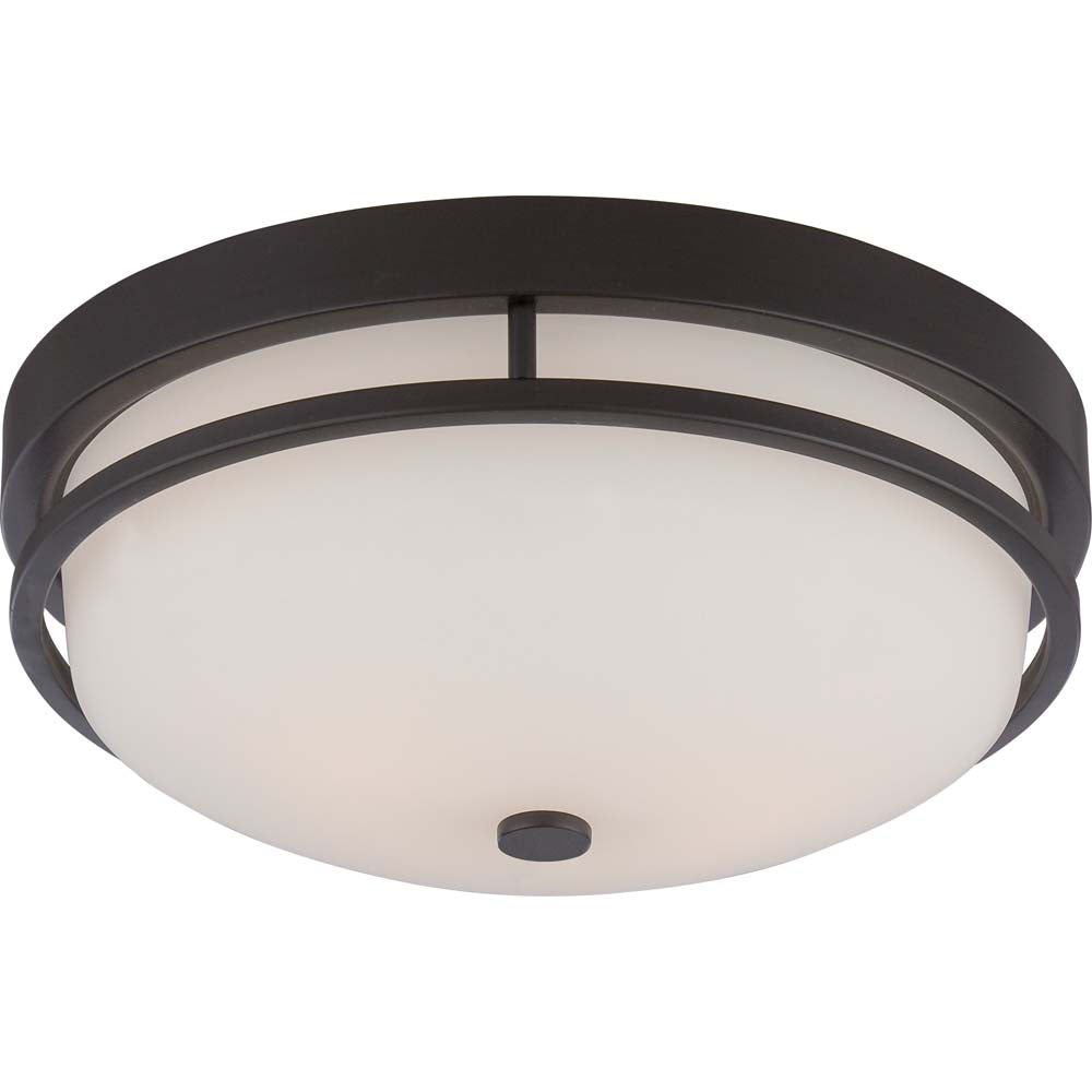 Nuvo Neval 2-Light Flush Fixture w/ Satin White Glass in Sudbury Bronze Finish