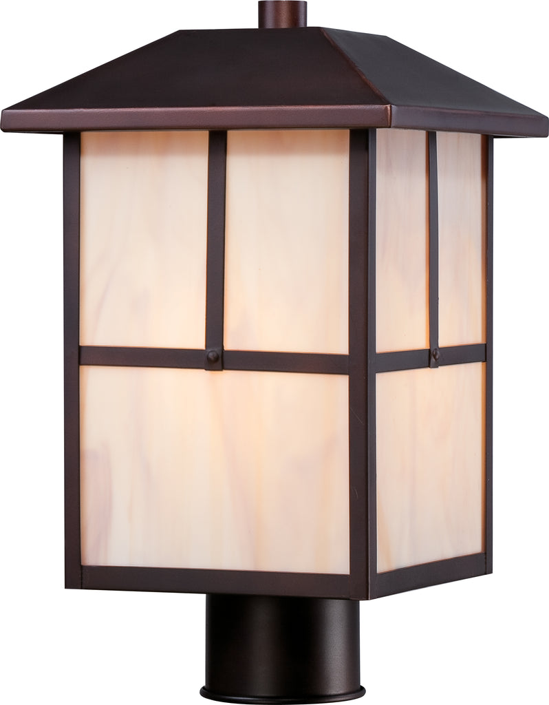 Tanner 1 LT Outdoor Post Fixture w/ Honey Stained Glass