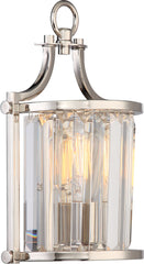 Nuvo Krys 1-Light Wall Sconce w/ Crystal Accent in Polished Nickel Finish