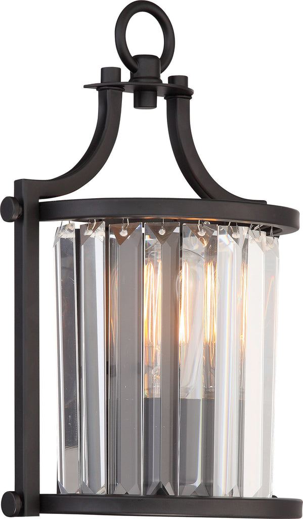 Nuvo Krys 1-Light Wall Sconce w/ Crystal Accent in Aged Bronze Finish