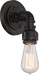 Iron 1-Light Vanity & Wall Light Fixture in Industrial Bronze Finish