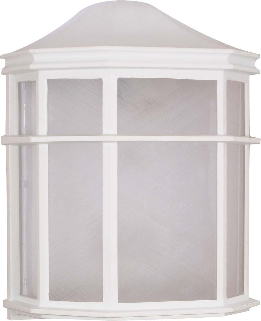 "Nuvo 1-Light 10"" Cage Wall Lantern w/ 13w GU24 Bulb Included in White Finish"