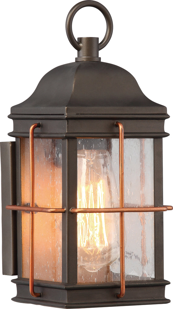 Howell 1-Light Wall Light Fixture in Bronze with Copper Accents Finish