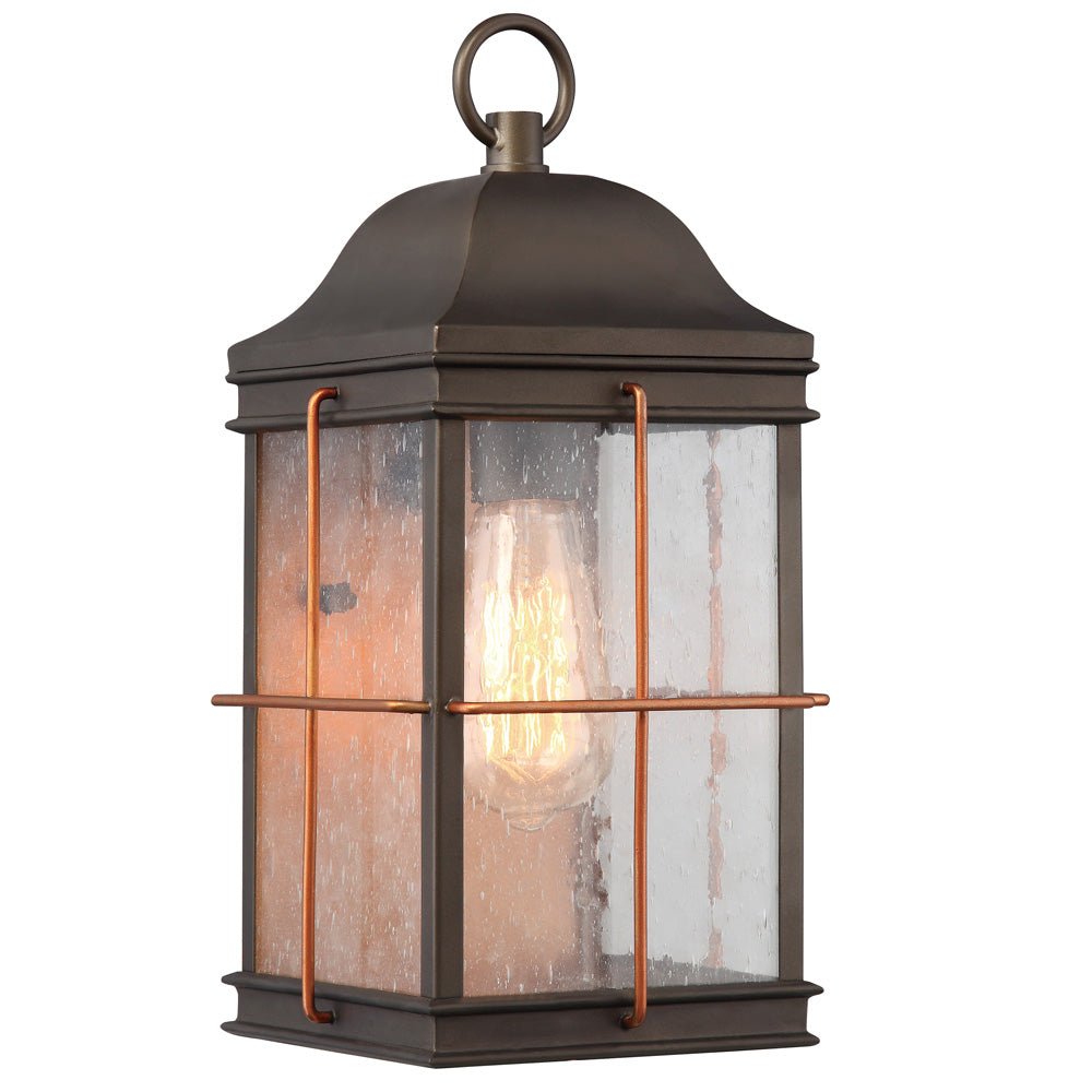 Howell 1-Light Outdoor Wall Light Fixture in Bronze with Copper Accents Finish