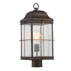 Howell 1-Light Post Lantern Light Fixture in Bronze with Copper Accents Finish