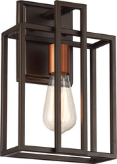 Lake 1-Light Wall Sconce Light Fixture in Bronze with Copper Accents Finish