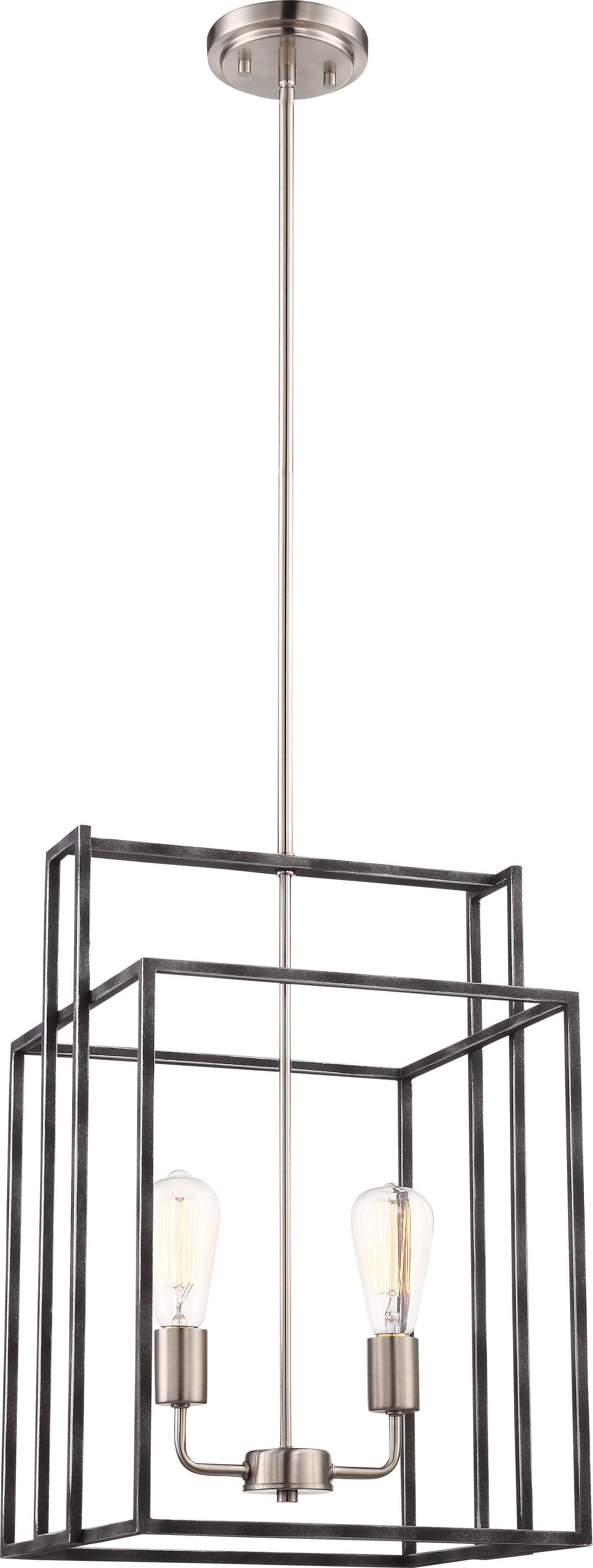 Lake 2-Light Square Pendant in Iron Black with Brushed Nickel Accents Finish