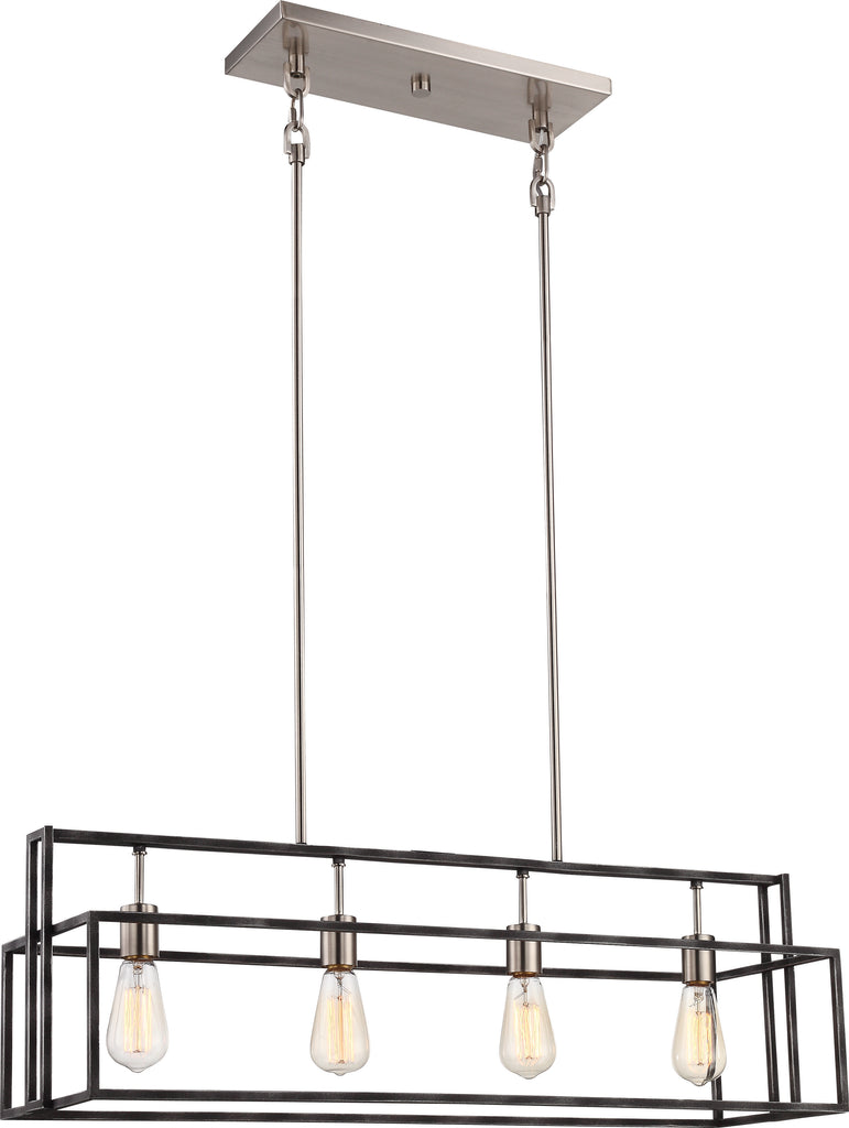 Lake 4-Light Island Pendant in Iron Black with Brushed Nickel Accents Finish
