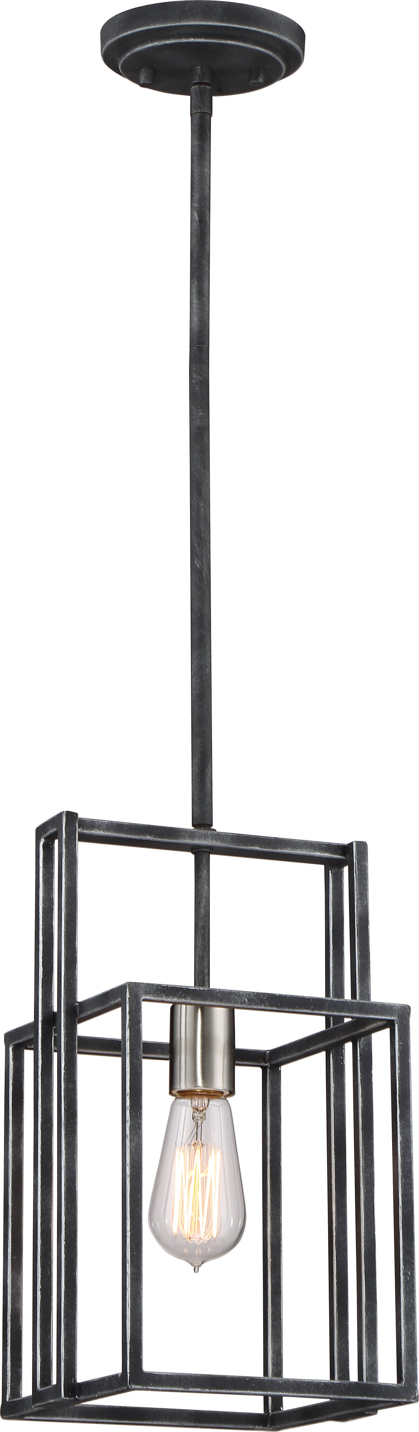 Lake 1-Light Mini-Pendant in Iron Black with Brushed Nickel Accents Finish