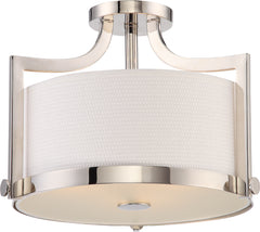 Meadow 3-Light Semi Flush Mounted Light Fixture in Polished Nickel Finish