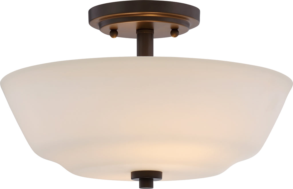 Willow 2-Light Semi Flush Mounted Light Fixture in Forest Bronze Finish