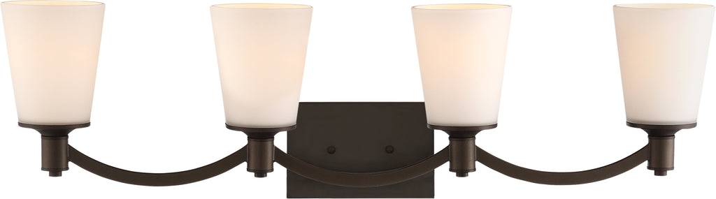Nuvo Laguna 4-Light Wall Vanity Fixture w/ White Glass in Forest Bronze Finish