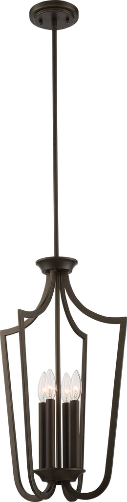 Nuvo Laguna 4-Light Cage Pendant w/ White Glass in Forest Bronze Finish