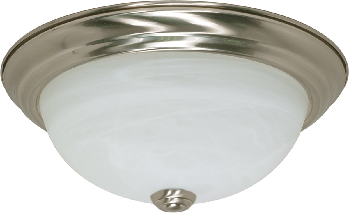 "Nuvo 2-Light 11"" Ceiling Flush Mount w/ Alabaster Glass in Brushed Nickel Finish"