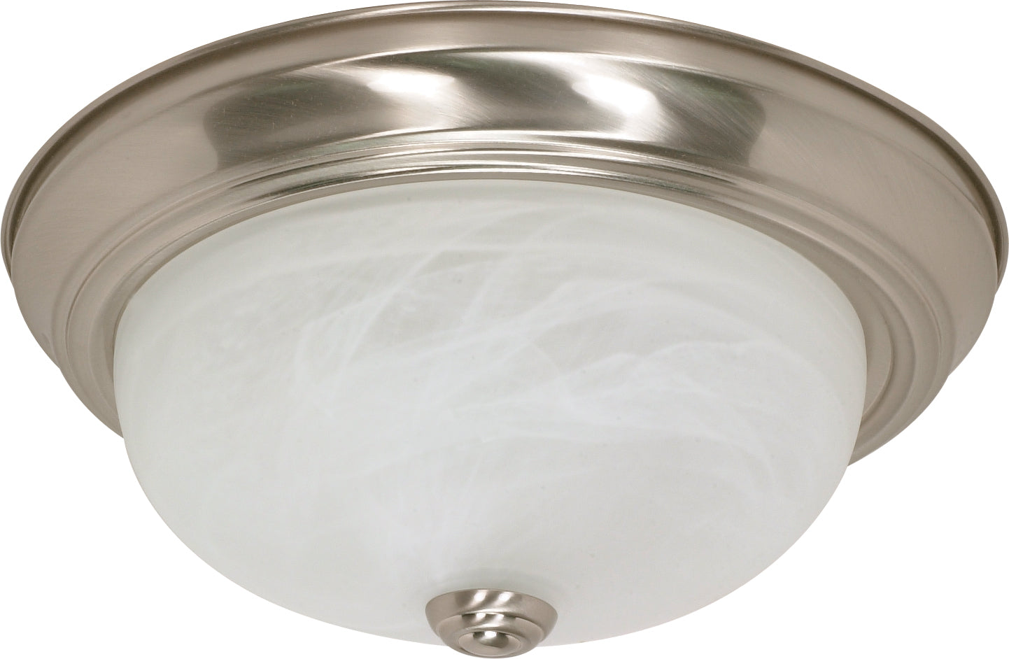 "Nuvo 2-Light 13"" Ceiling Flush Mount w/ Alabaster Glass in Brushed Nickel Finish"