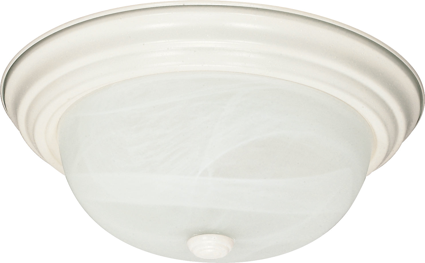 2-Light Flush Mounted Close-to-Ceiling Light Fixture in Textured White Finish