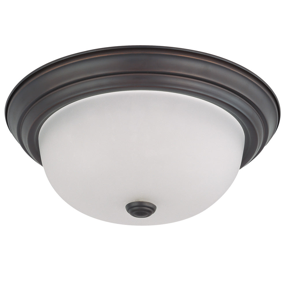 """Nuvo 2-Light 13"""" Flush Mount Fixture w/ Frosted White Glass in Mahogany Bronze"""