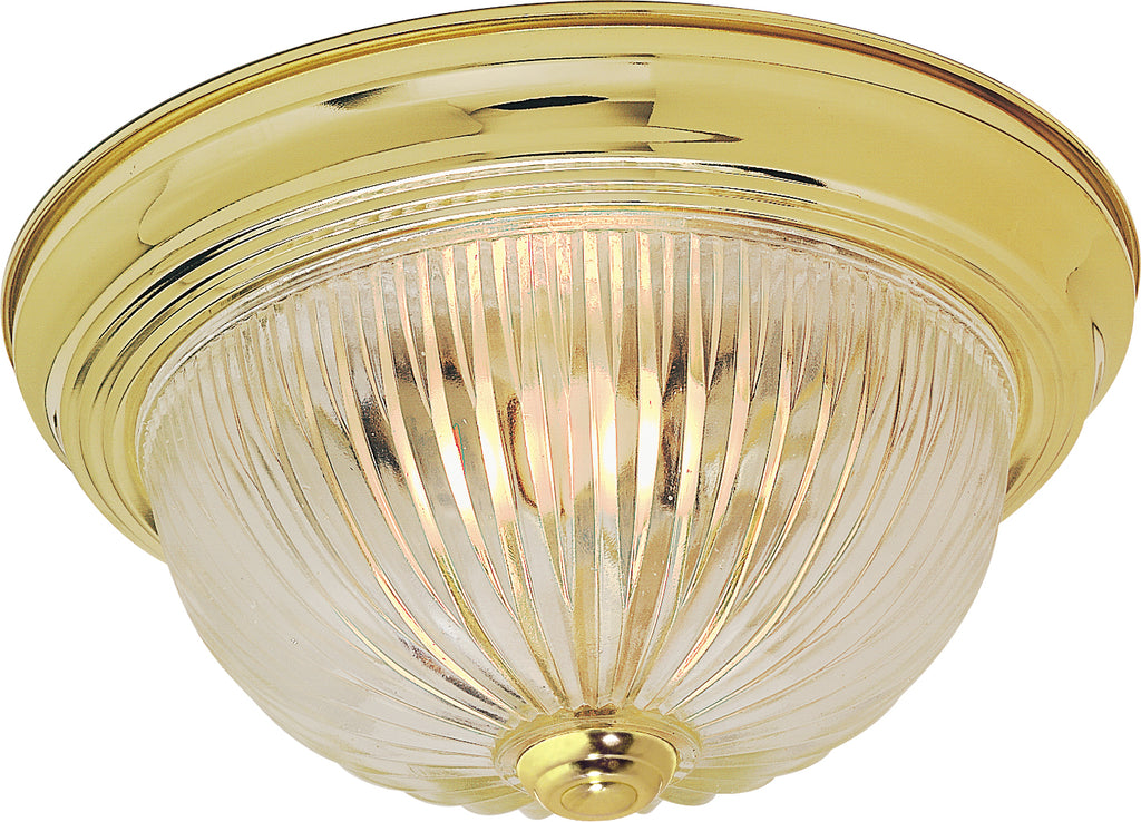 "Nuvo 2-Light 13"" Flush Mount Fixture w/ Clear Ribbed Glass in Polished Brass"
