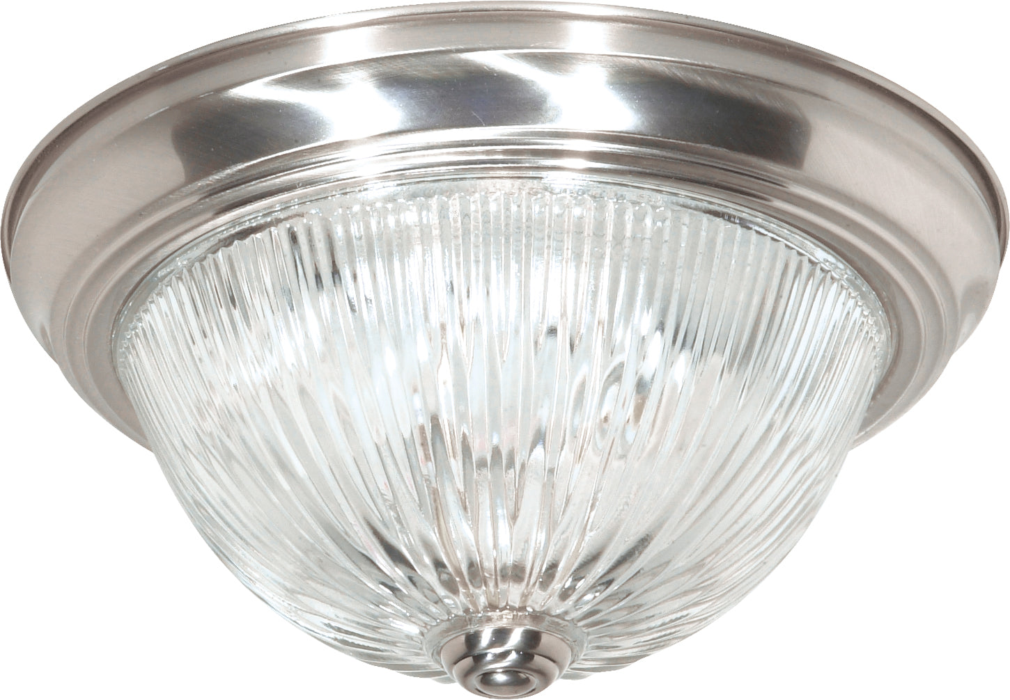 """Nuvo 2-Light 11"""" Flush Mount Fixture w/ Clear Ribbed Glass in Brushed Nickel"""