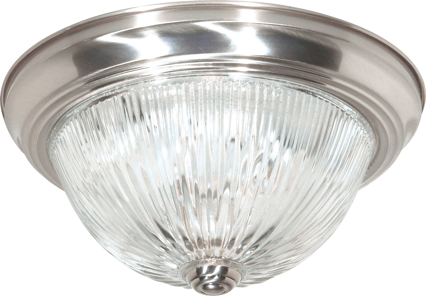"""Nuvo 2-Light 13"""" Flush Mount Fixture w/ Clear Ribbed Glass in Brushed Nickel"""