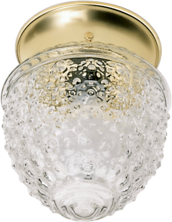 """Nuvo 1-Light 6"""" Ceiling Fixture w/ Clear Pineapple Glass in Polished Brass"""