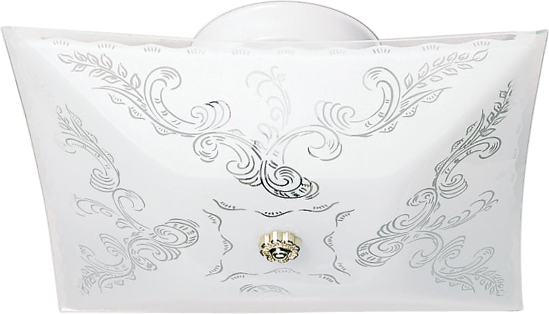 "Nuvo 2-Light 12"" Square Floral Flush Mount Ceiling Fixture in White Finish"