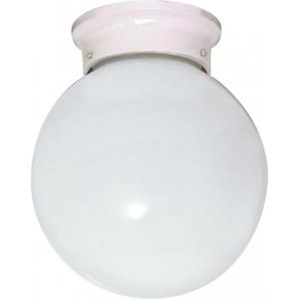 """Nuvo 1-Light 6"""" Ceiling Fixture w/ White Ball Glass in White Finish"""