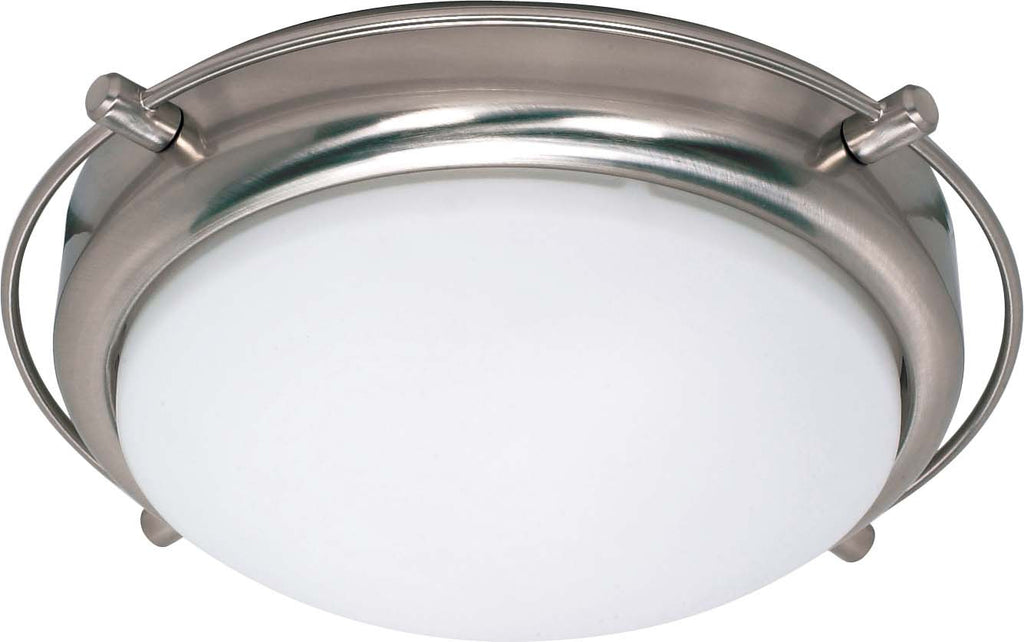 Nuvo Polaris - 2 Light - 14 inch - Flush Mount - w/ Satin Frosted Glass Shades