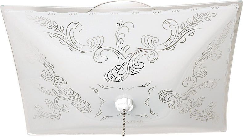 """Nuvo 2-Light 12"""" Square Floral Ceiling Fixture w/ Pull Chain in White Finish"""