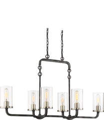 Sherwood 6-Light Island Pendant in Iron Black with Brushed Nickel Accent Finish