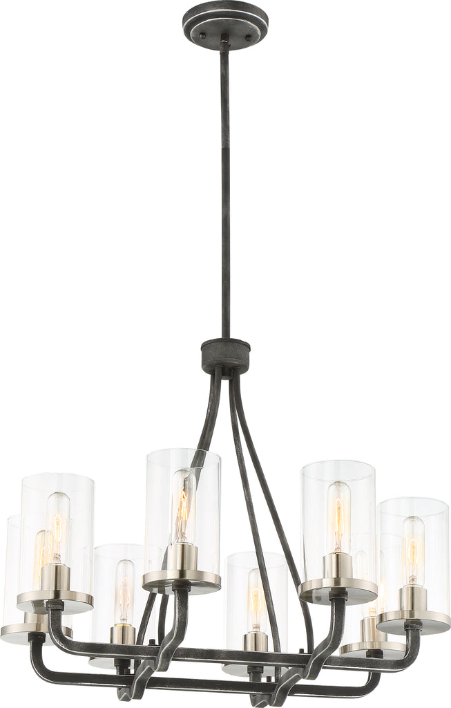 Sherwood 8-Light Chandelier in Iron Black with Brushed Nickel Accents Finish