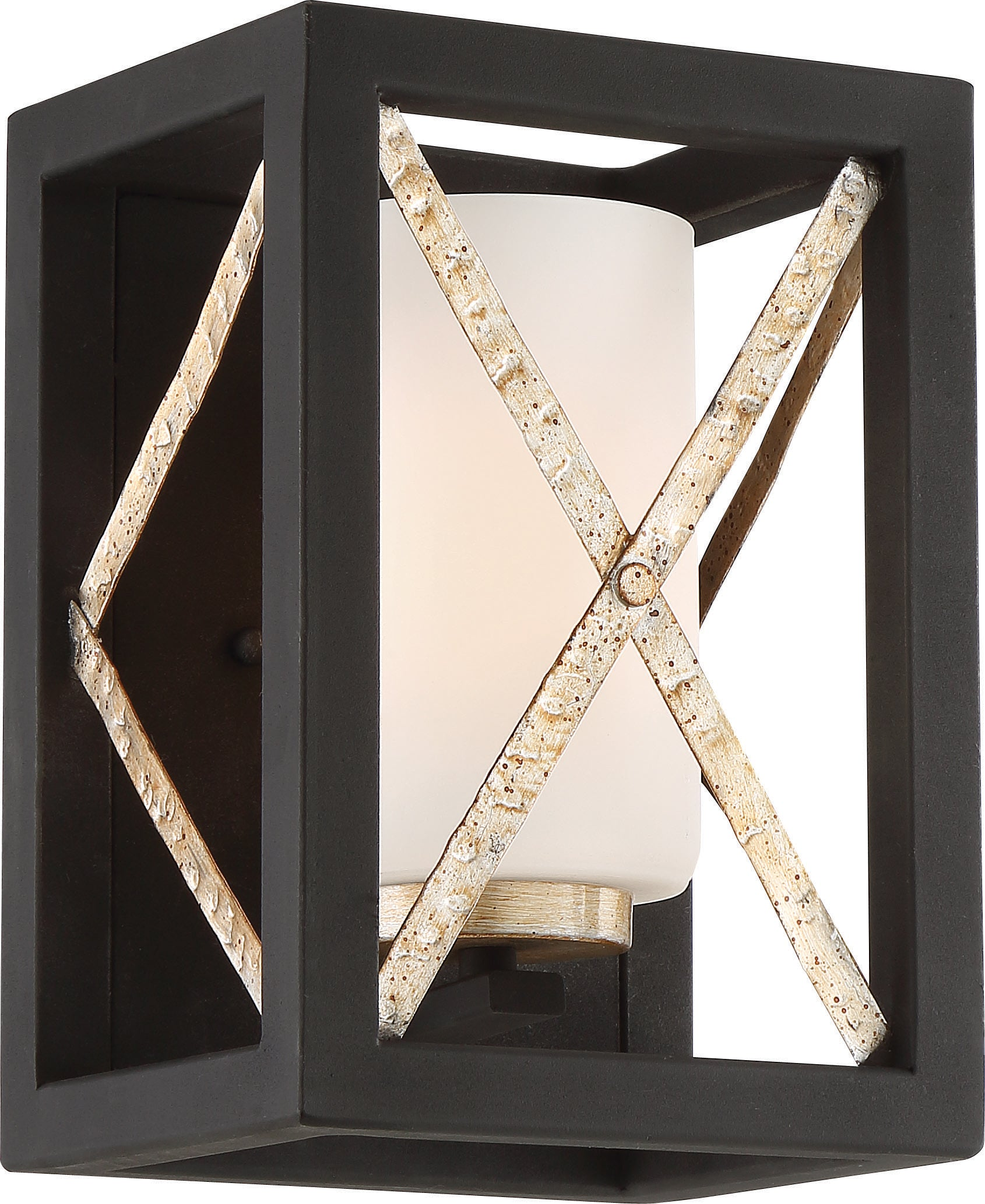 Boxer 1-Light Wall Sconce in Matte Black / Antique Silver Accents Finish