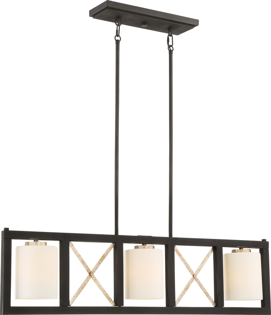 Boxer 3-Light Island Pendant in Matte Black / Antique Silver Accents Finish