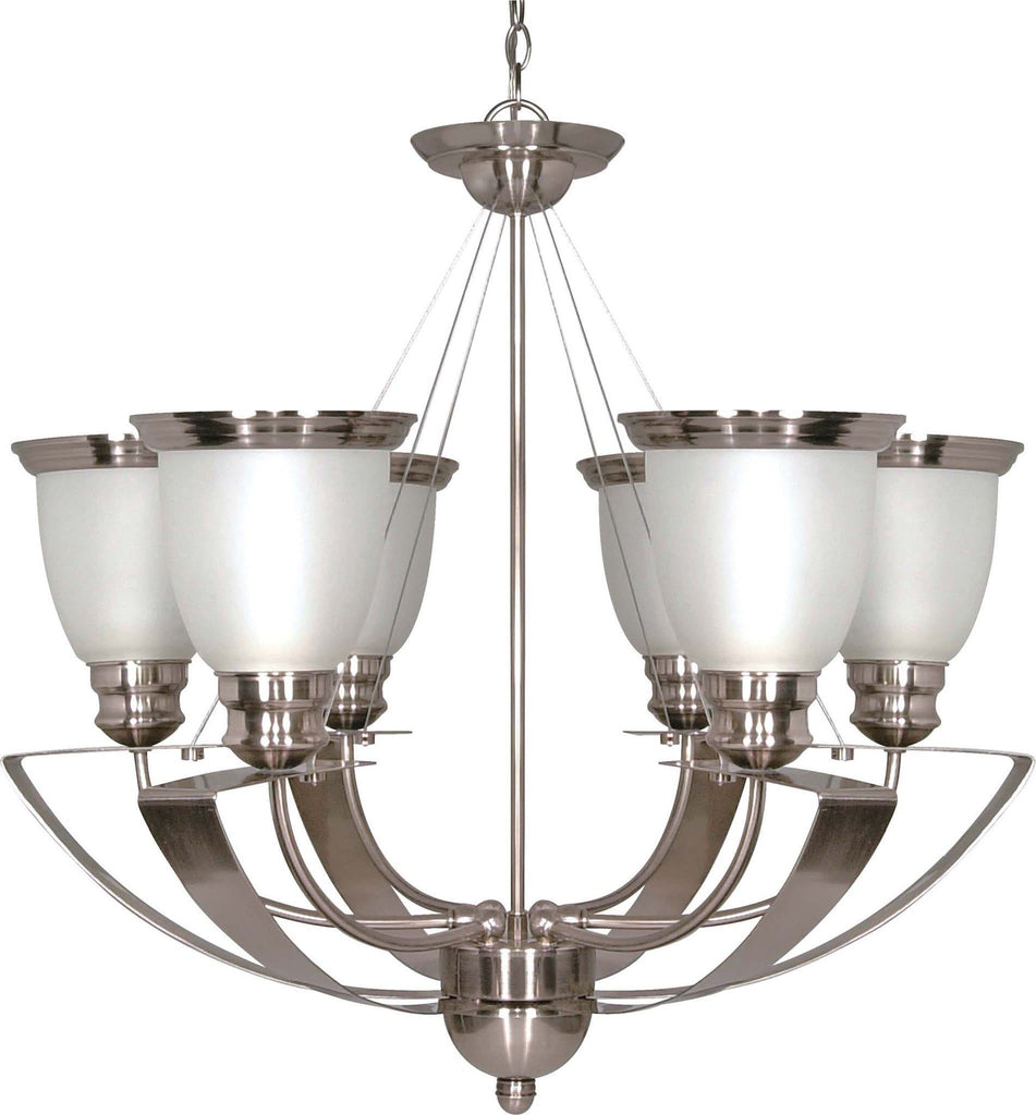 Nuvo Palladium - 6 Light - 25 inch - Chandelier - w/ Satin Frosted Glass Shades