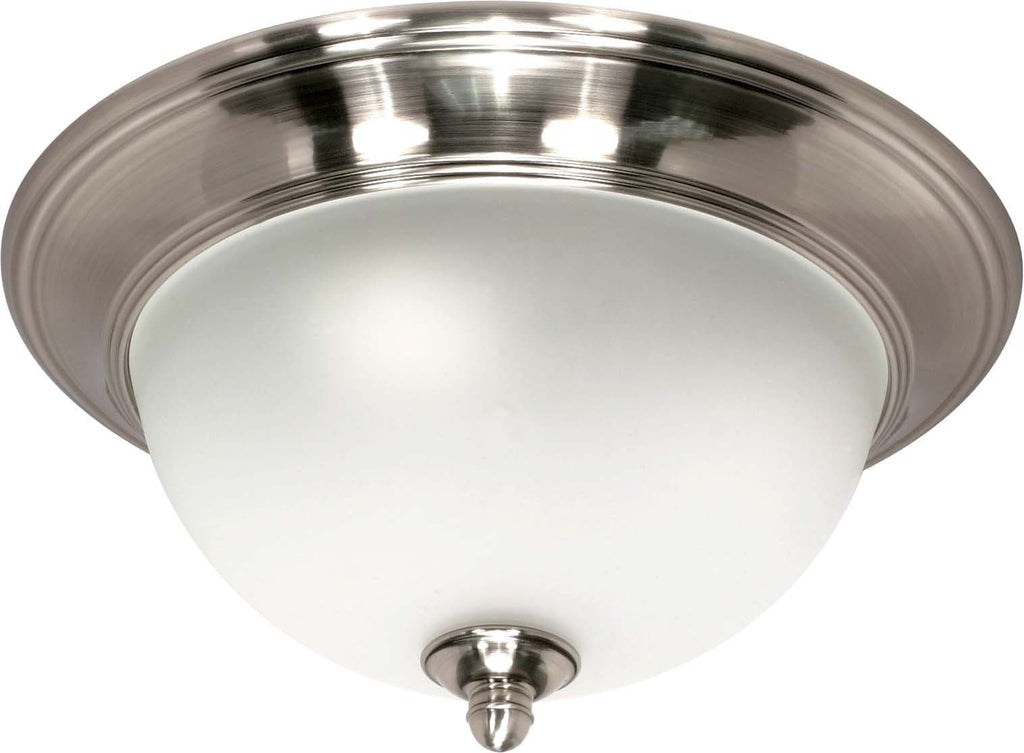 Nuvo Palladium - 2 Light - 14 inch - Flush Mount - w/ Satin Frosted Glass Shades