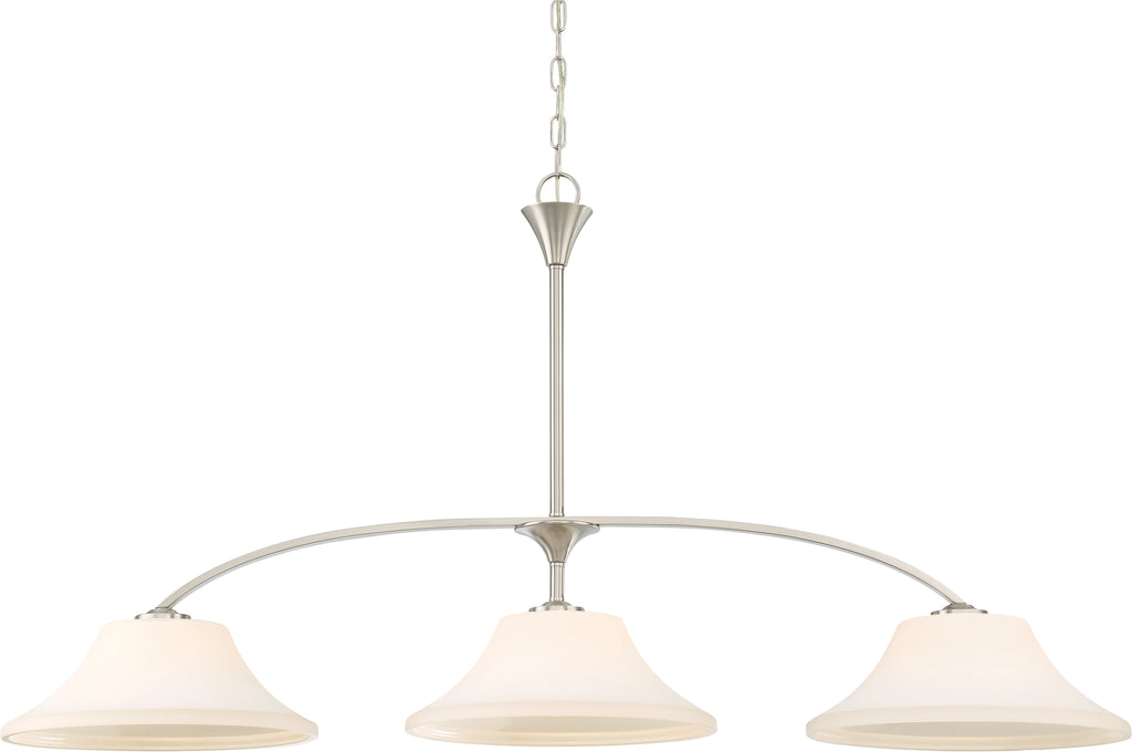 Fawn 3-Light Island Pendant Light Fixture in Brushed Nickel Finish
