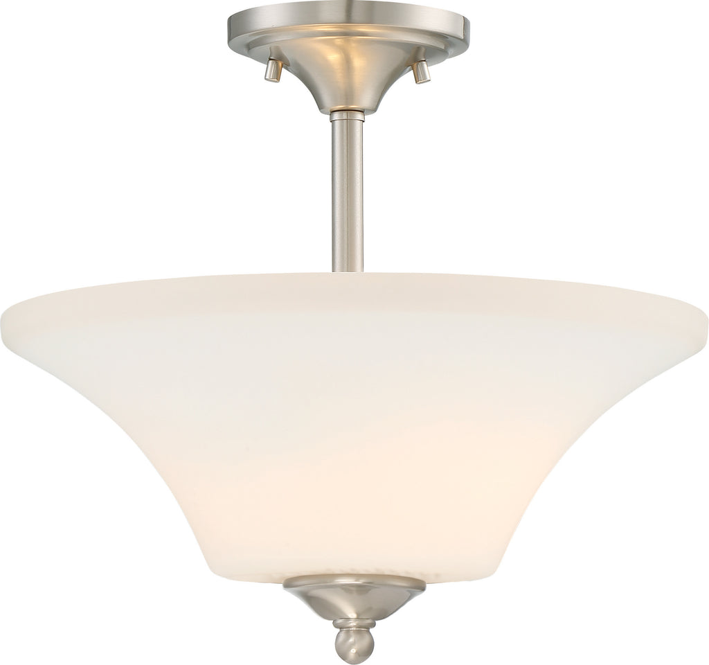Fawn 2-Light Semi Flush Mounted Light Fixture in Brushed Nickel Finish