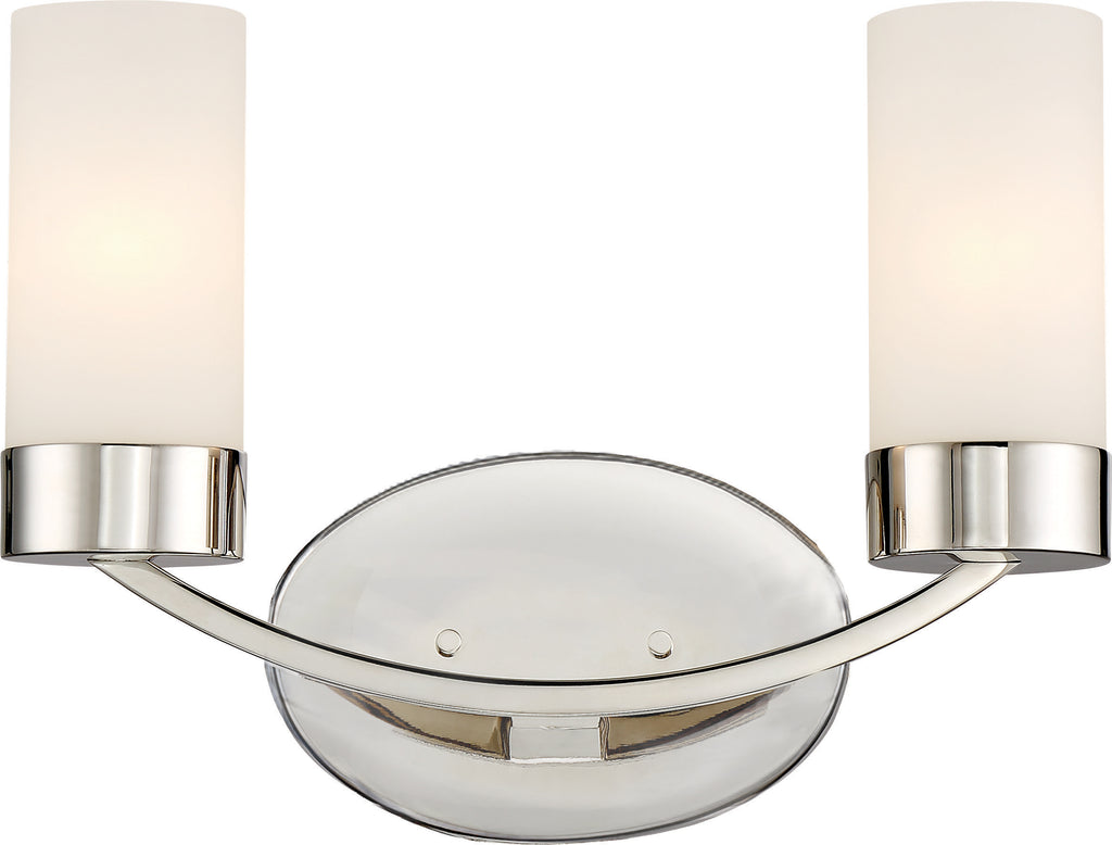Denver 2-Light Wall Mounted Vanity & Wall Light Fixture in Polished Nickel Finish