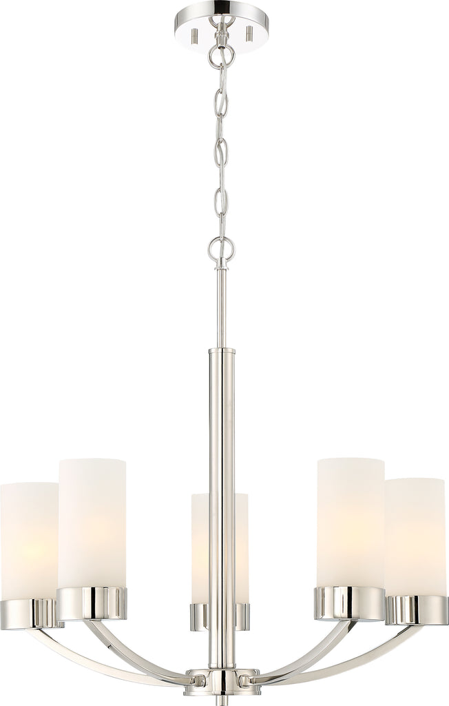 Denver 5-Light Hanging Mounted Chandelier Light Fixture in Polished Nickel Finish