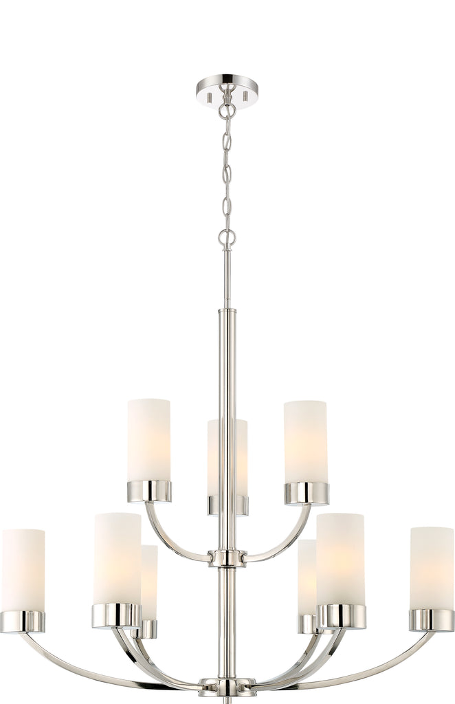 Denver 9-Light Hanging Mounted Chandelier Light Fixture in Polished Nickel Finish