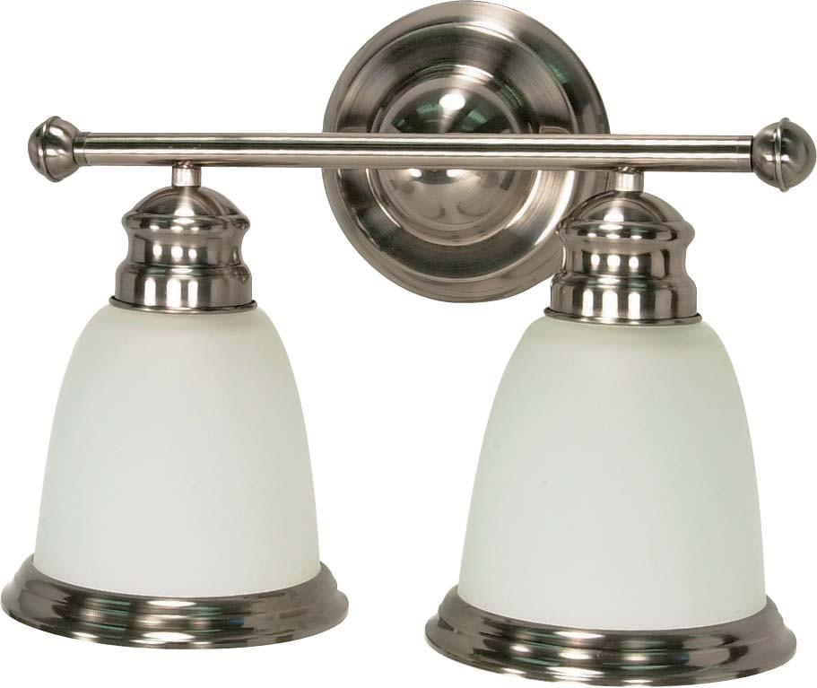 Nuvo Palladium - 2 Light - 14 inch - Vanity - w/ Satin Frosted Glass Shades