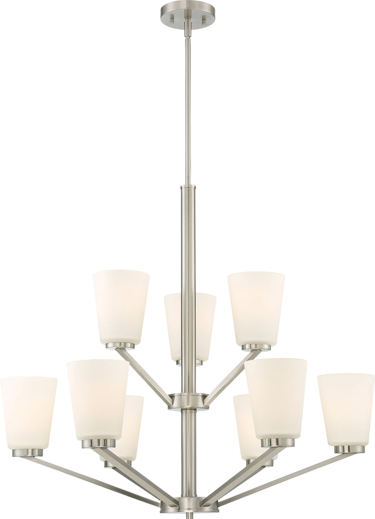 Nome 9-Light Hanging Mounted Chandelier Light Fixture in Brushed Nickel Finish